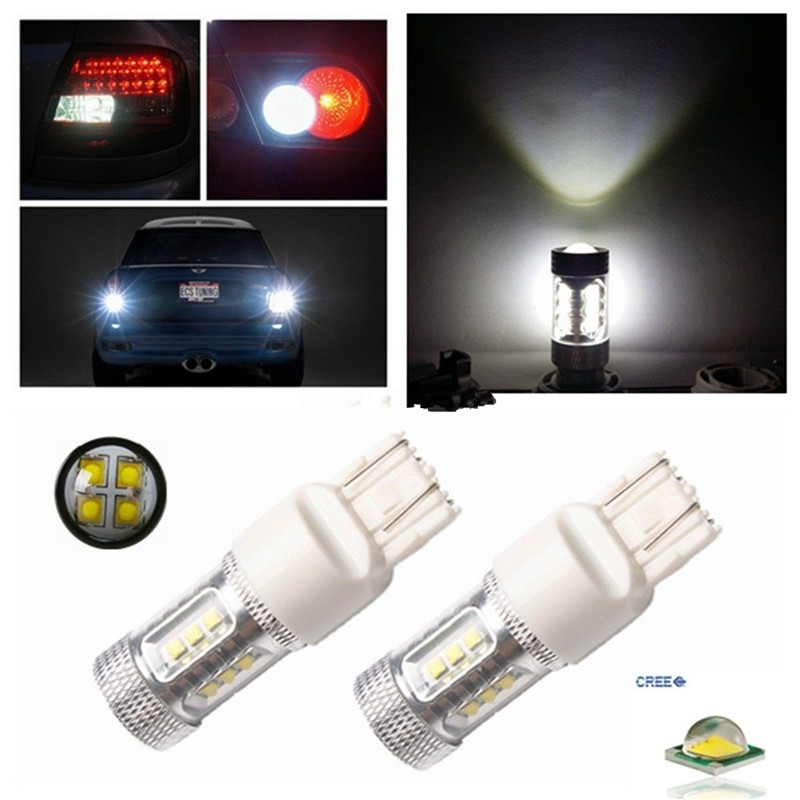 2 x White CREE Chips 80W T20 7443 W21/5W High Power Projector Reverse Backup Brake Tail Stop Light For Acura Cadillac Chevrolet