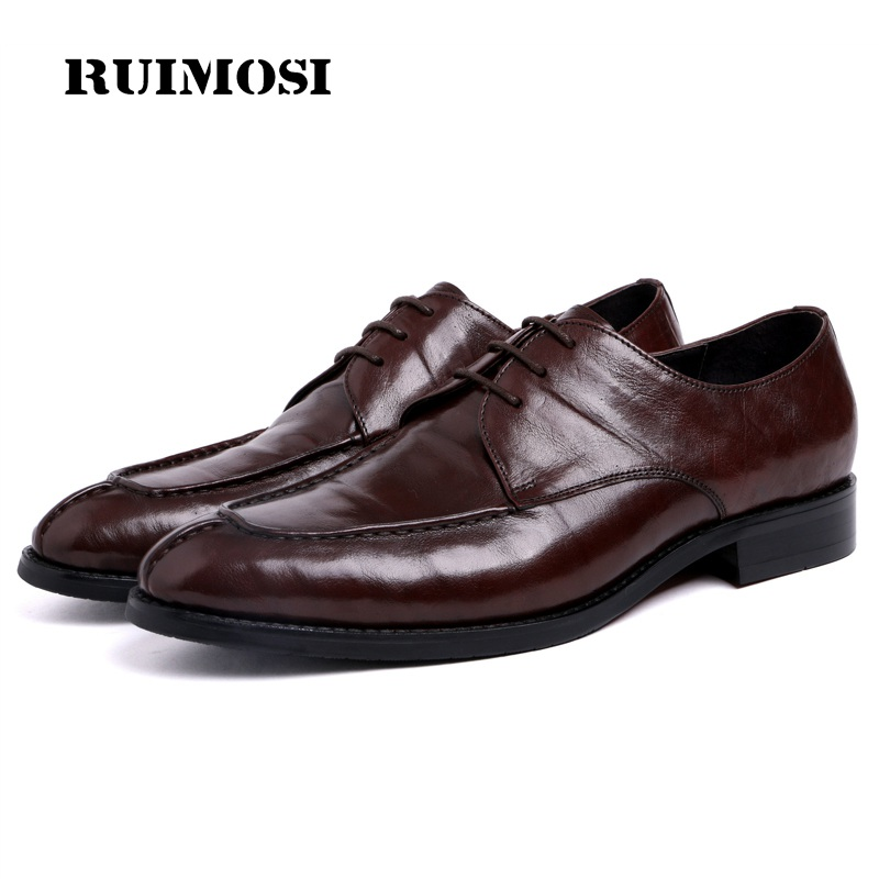 RUIMOSI Fashion Formal Man Derby Bridal Dress Shoes Genuine Leather Cow Wedding Oxfords Round Toe Lace up Men's Footwear UH13