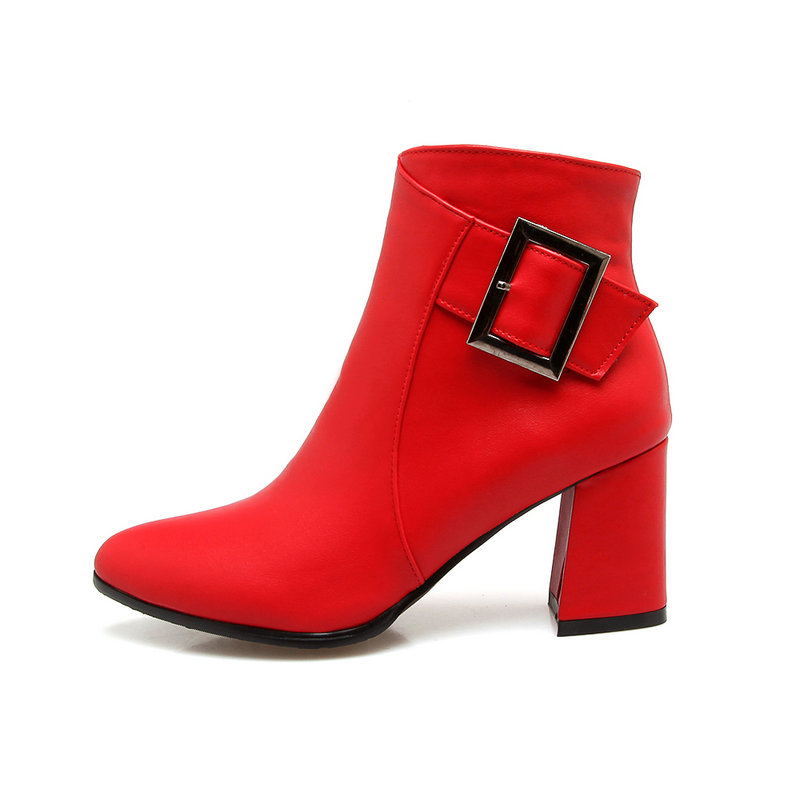 Laides Thick High Heel Ankle Boots Fashion Buckle Winter Martin Boots Women Shoes Red Gray Brown Black