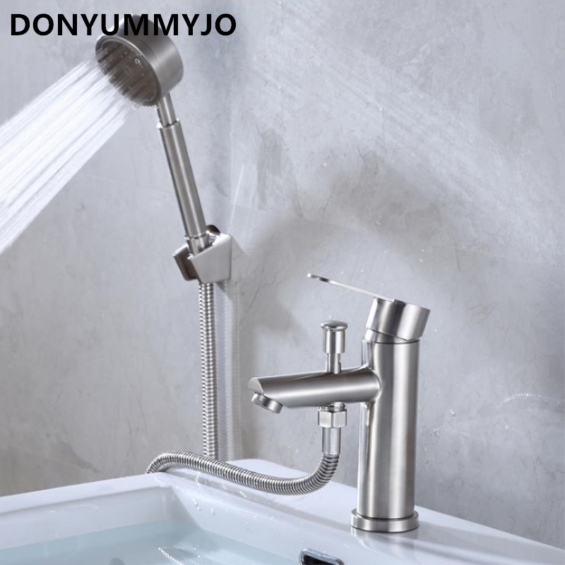 DONYUMMYJO 1set The New 304 Stainless Steel Basin Hot And Cold Water Tap With Nozzle Shower Drawing Pump Triple Lift Faucet