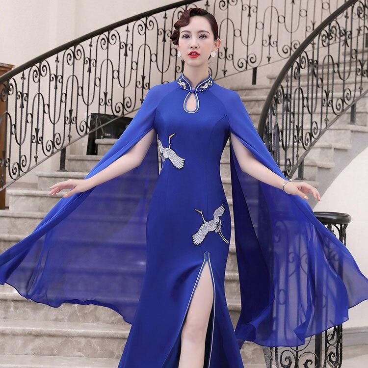 100% Kwaliteit Traditionele Blauw Sexy Split Slanke Qipao Vrouwen Mandarijn Kraag Volledige Lengte Cheongsam Elegante Vrouwelijke Prom Jurk Vestidos Koop Nu