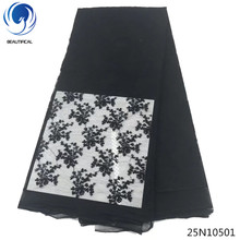 Beautifical tulle lace fabric african flower cheap latest black embroidered 5yards per piece 2018 25N105