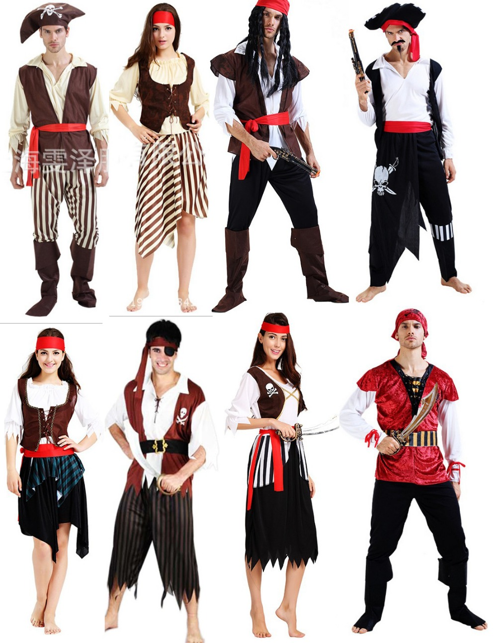 Cheap Fashionable adult men women Skeletons pirate costume halloween party dress up costume shirt vest trouses boot headband-in Anime Costumes from Novelty ...  sc 1 st  AliExpress.com & Cheap Fashionable adult men women Skeletons pirate costume halloween ...