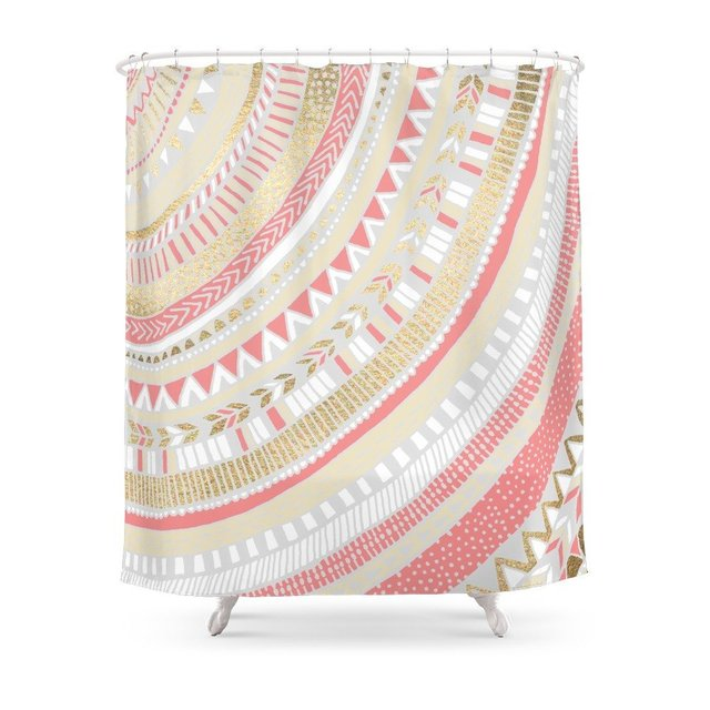 Coral Gold Tribal Shower Curtain Custom For Bathroom Waterproof Polyester