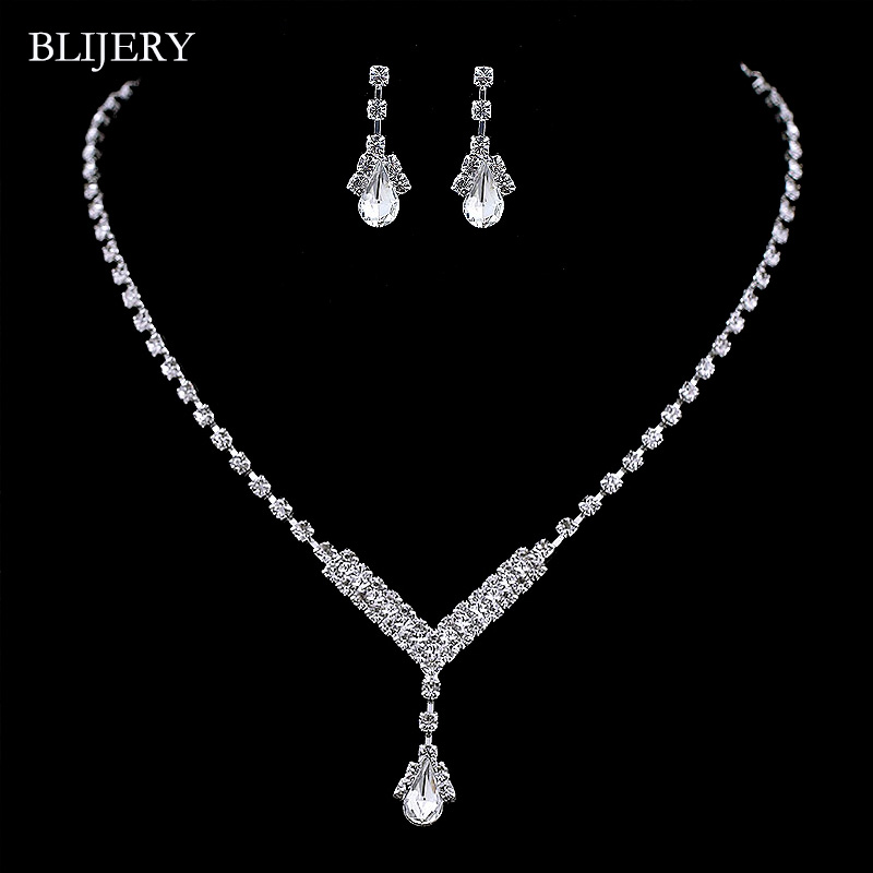 BLIJERY Simple V Shape Teardrop Bridesmaid Bridal Jewelry Sets Fashion Crystal Wedding Jewelry Necklace Earrings Set for Women
