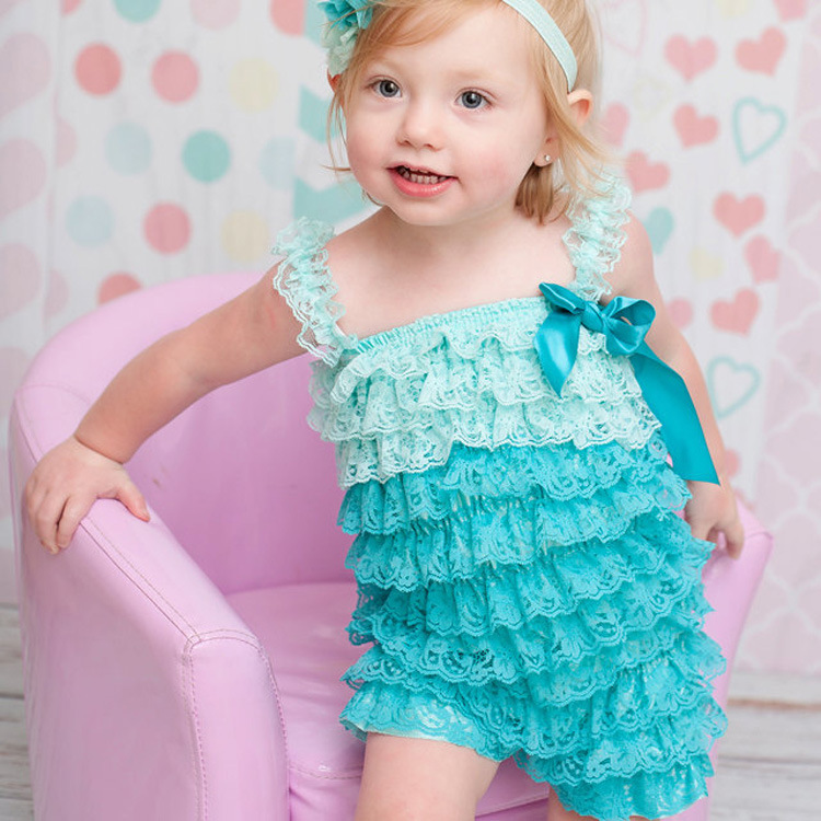 Hot Baby Two-Tone Lace Ruffle Romper Infant Toddler Posh Petti Romper with Straps and Ribbon Bow Kids Jumpsuit Newborn One-piece light pink white polka dots one piece petti dress with white posh feather malp27