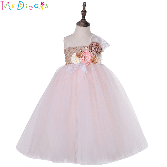 48a2e4a04c2 Blush Champagne Wedding Bridesmaid Tutu Dress One Shoulder Princess Flower  Girl Birthday Party Tulle Dress Long Frock Dresses