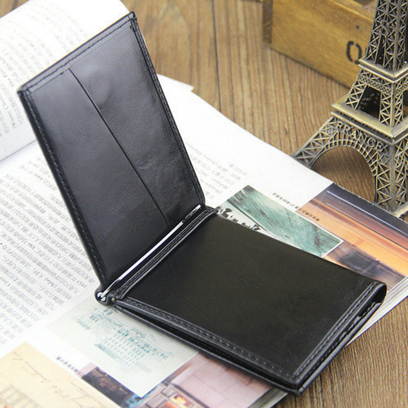 Hot sale Fashion Mens leather Money clip wallet with credit card slots Business short designer purse for male
