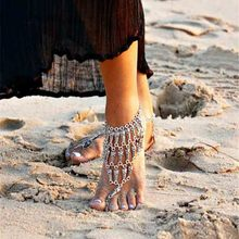 2017 Summer Style Boho Silver Plated Totem Coin Pendant Toe Cycle Multi Layer Chain Link Anklets Bracelet Foot Jewelry For Women