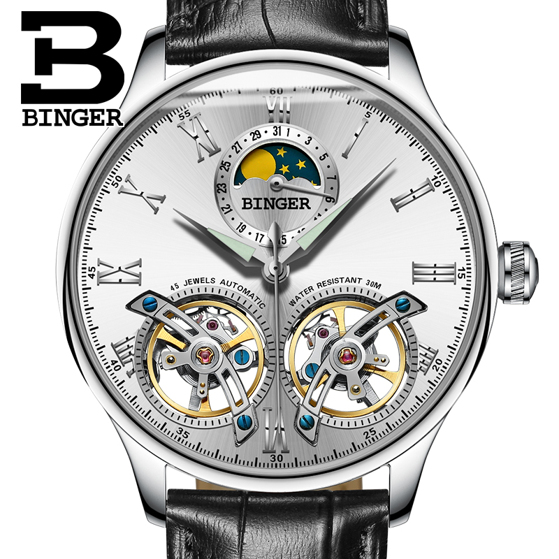 Switzerland watches men luxury brand BINGER sapphire Water Resistant toubillon full steel Mechanical Wristwatches B-8606MN-6