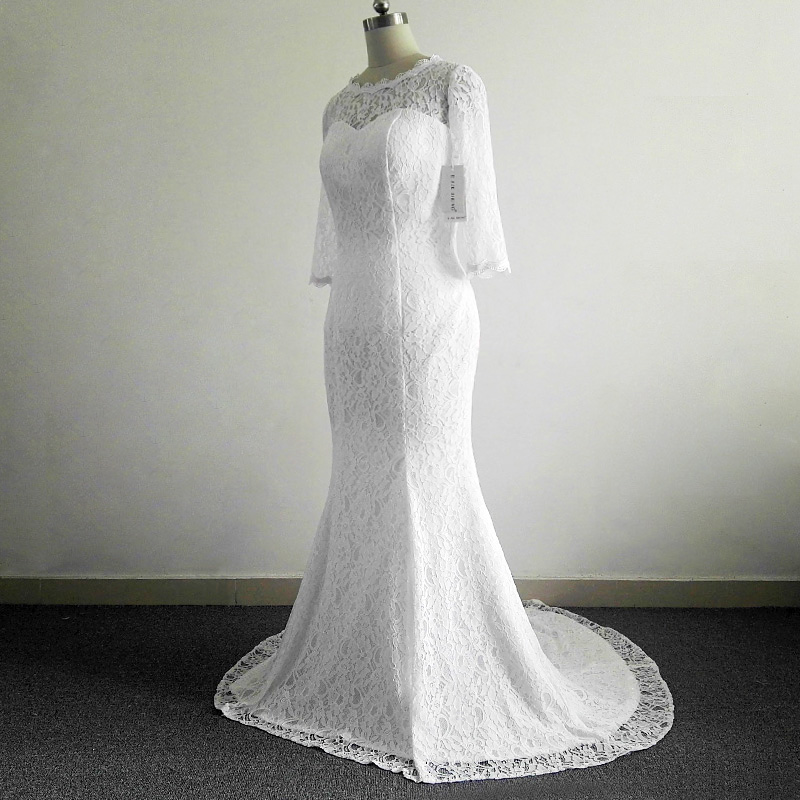 E JUE SHUNG White Vintage Lace Cheap Mermaid Wedding Dresses Half Sleeves Back Hole New Wedding Gowns Vestidos De Novia