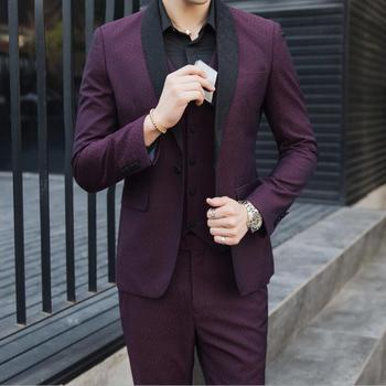 3 Pieces Men's Suit Korean Style Casual Jacquard Suit Men Clothes Dress Slim Fit Wedding Prom Formal Mens Suits with Pant Vest