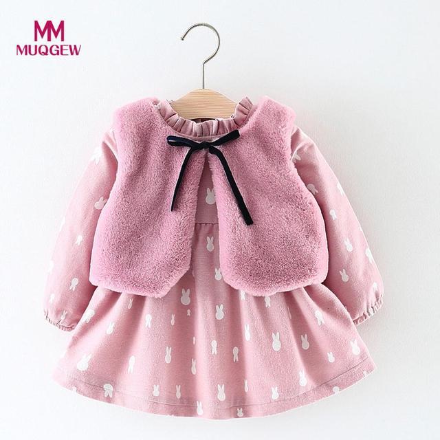 9ea08aa90 MUQGEW Baby Dress Newborn Baby Girls Cartoon Rabbit Printed Warm ...