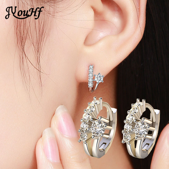 d77f47b5cee6 JYouHF 2017 Small Cute 925 Sterling Silver Cubic Zirconia Earrings for  Girls Beautiful Sterling Silver Hoop Earrings Jewelry