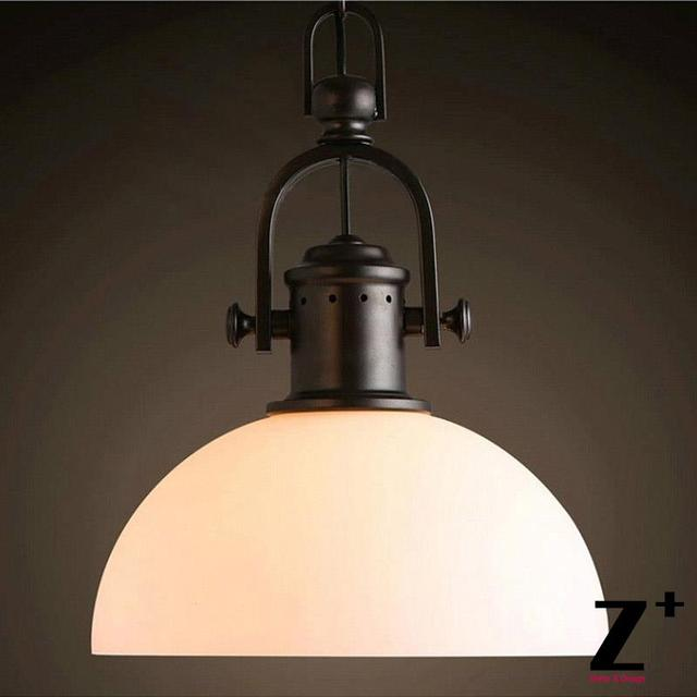 vintage industrial style frosted milk glass lampshade edison bulbs