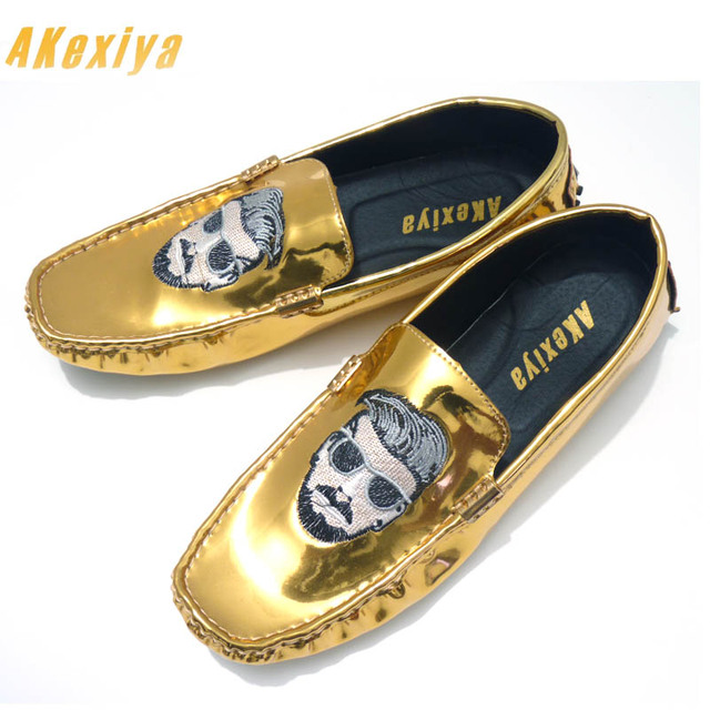 cd57f19e86c1b6 New Fashion Men luxury Designer embroidery Cool Man Casual Shoes Loafers  Driving Gold Silver Black glitter Shoes Moccasins