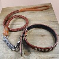 Con chó lớn cổ áo lead leash luxury Bất da bò weave da dog-cổ áo Pet Sản Phẩm cửa hàng phụ kiện cho chó đức shepherd