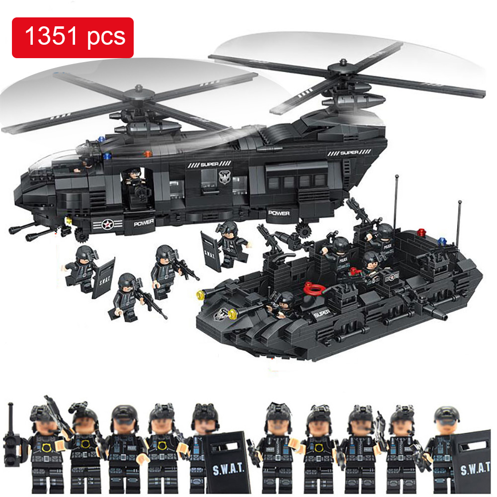 1351pcs Military Swat Team model building blocks transport helicopter Compatible Legoed Star Wars Enlighten Bricks children Toys enlighten building blocks military cruiser model building blocks girls
