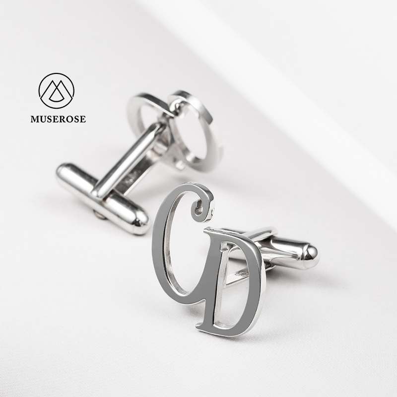 925 Sterling Silver Mens Cufflinks Wedding Jewelry Accessories Custom Name Initial High Quality Personalized Groom Wedding Gift