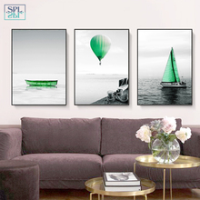ФОТО splspl nordic decoration canvas painting surfing seascape green sailing boat wall picture posters and prints for living room