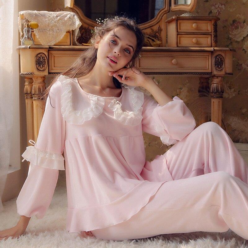 Winter New   Pajamas   for Women Lovely Sweet Princess   Pajamas   Lace Thin Velvet   Pajama     Set   Keep Warm Pyjamas Women Sexy Pijama Mujer