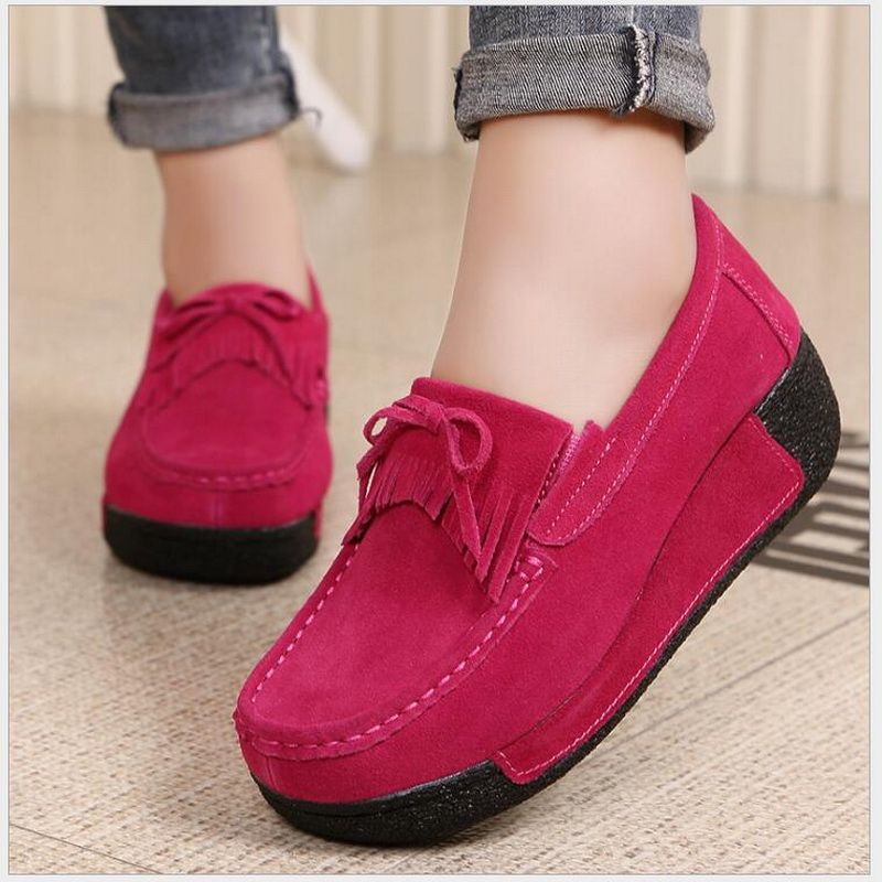 Autumn Winter Women Flat Platform Loafers shoes Ladies Elegant   leather     suede   flats Woman Tassel Moccasin Women Casual Shoes 606