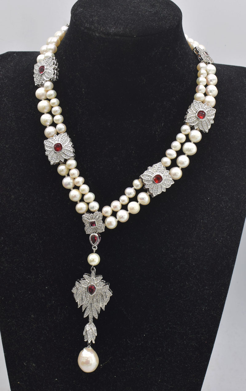 2rows freshwater pearl white near round  7-8mm necklace &red zircon clasp  17inch  FPPJ wholesale beads nature
