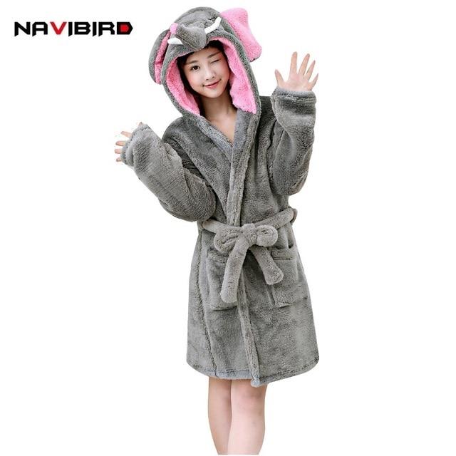 5fb7f96b43 Cute Winter Hooded Flannel Elephant Bathrobe For Women Long Sleeve Plus  Size Animal Pyjama Sexy Night Robe Gilrs Dressing Gowns