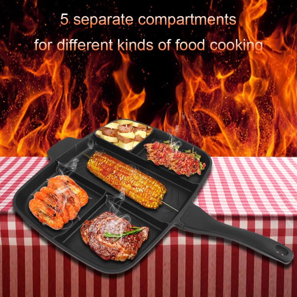 5 En 1 Multi Section Non Bâton En Aluminium Revêtement Ustensiles de Cuisine Poêle Grill Pan Cuisson Outils Accessoires Noir