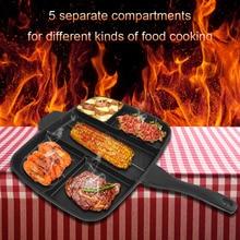 5 в 1 Multi раздел антипригарным Алюминий покрытие ПОСУДА Сковороды сковороды гриль Пособия по кулинарии инструменты аксессуары черный