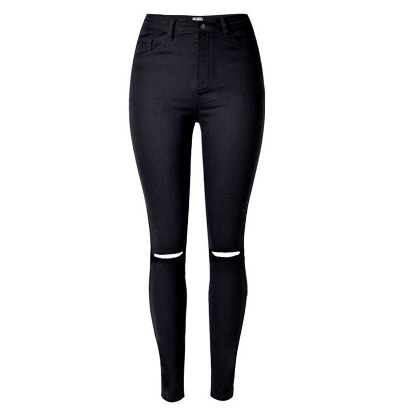 2016 Sexy Women High Waist Stretch Ripped Legs Skinny Washed Denim Jeans Pants Hole (Black) (Jeans Size In Inches 25-30) S1533 high waist jeans ripped stretch pants