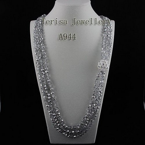 New Free Shipping A944 Grade AA Nice Gary Color Crystal Necklace 100CM 3Rows 8MM New Style Fashion Crystal Necklace Hot Sale