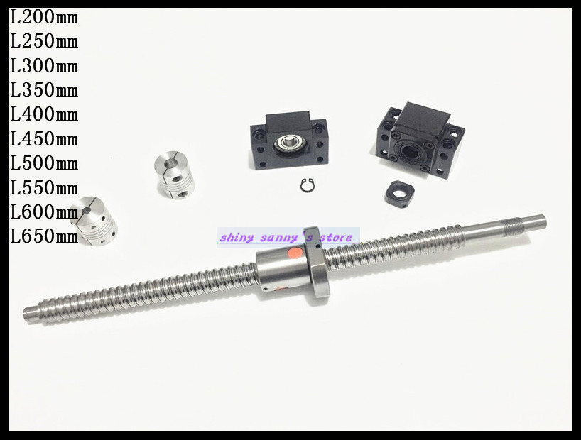 Ball Screw SFU1605 RM1605 L300mm Ballscrew End Machined with Ball nut + BK12 BF12 End Support + 2pcs 6.35x10mm Coupler Brand New