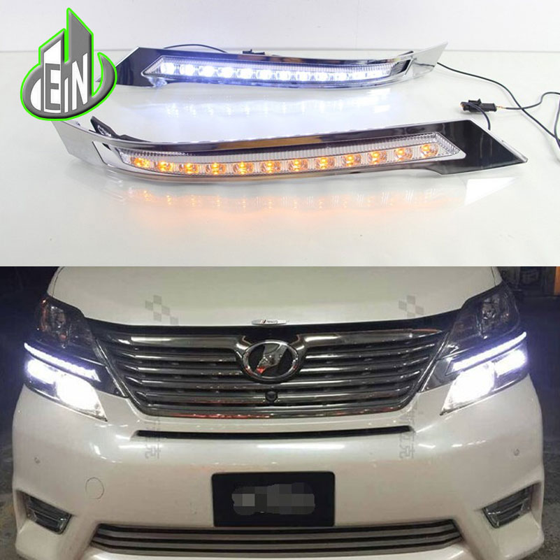 car styling for toyota vellfire 2013 - 2015 LED DRL Daytime Running Lights Daylight Waterproof White Yellow Turning Signal car styling tail lights for toyota highlander 2015 led tail lamp rear trunk lamp cover drl signal brake reverse