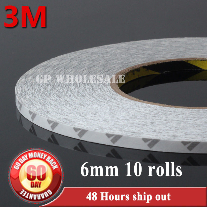 Wholesale!! 10x 6mm*50 meters Length 3M 9080 Double Sided Adhesive Tape, for Nameplate, Case, LED Strip Adhesive, Common Using 6mm 50 meters 3m 9080 double sided adhesive tape for phonetablet screen dispaly led strip adhesive common using