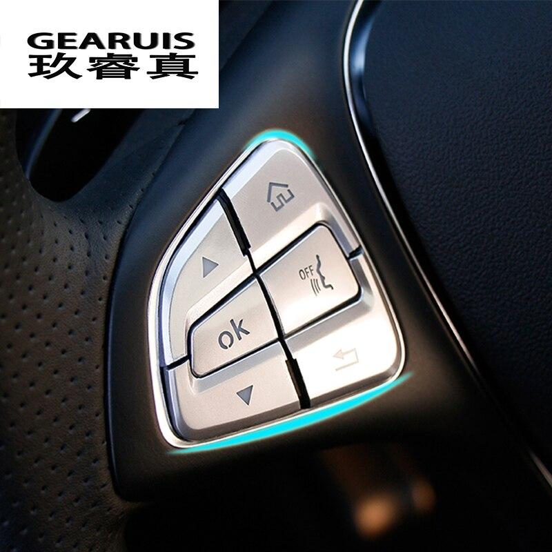 Voiture style volant bouton couvre garniture autocollants pour Mercedes Benz GLC A C classe W205 X253 CLA C177 GLA X156 accessoires