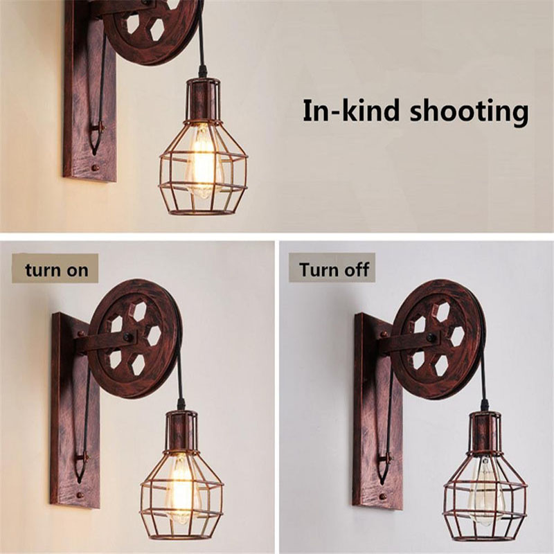 Image 5 - Vintage Home Sconce Light Loft Retro Wall Lamp Lifting Pulley Wall Light Industrial Style Iron Lanterns Suspension Pendant LightWall Lamps   -