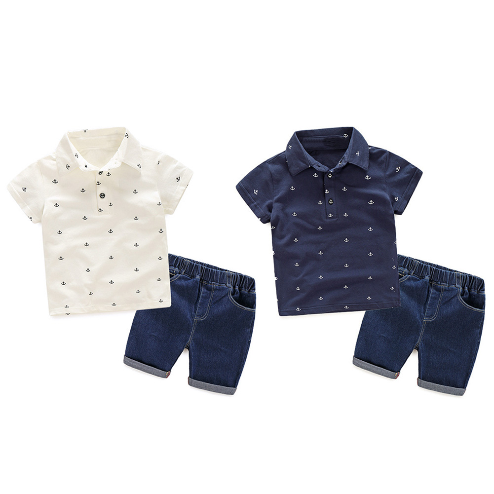 Baby Boys Summer Clothing Set Fashion Short Sleeve Polo Shirt with Pants Kids 2pcs Sets Cotton T-Shirt+Pant Kids Sport Suits