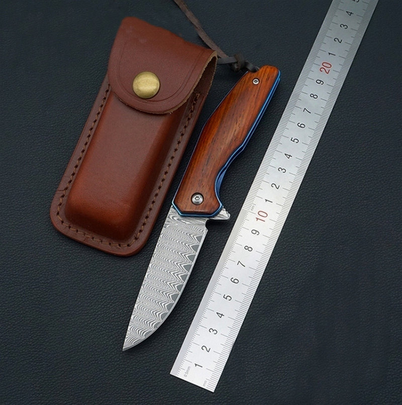 TRSKT Damascus Camping Knives Hunting Knife Wood Handle 60Hrc, Rescue Survival Folding knives Collection knife Outdoor EDC tool 100% damascus knives folding knife no lock survival folding knife hunting knife edc tool