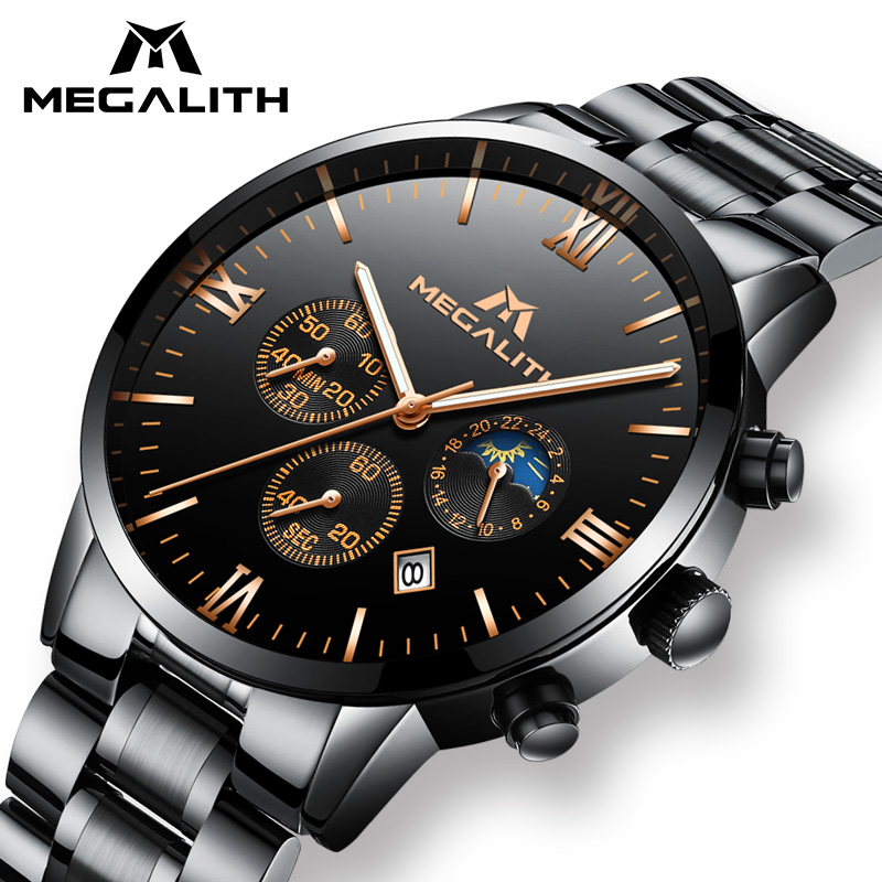 Men Watches MEGALITH Luxury Chronograph Date Calendar Watch Men Military Sport Waterproof Black Stainless Steel Wristwatch Mens megalith quartz watches mens waterproof chronograph calendar silver stainless steel wrist watch gents sport business men s watch
