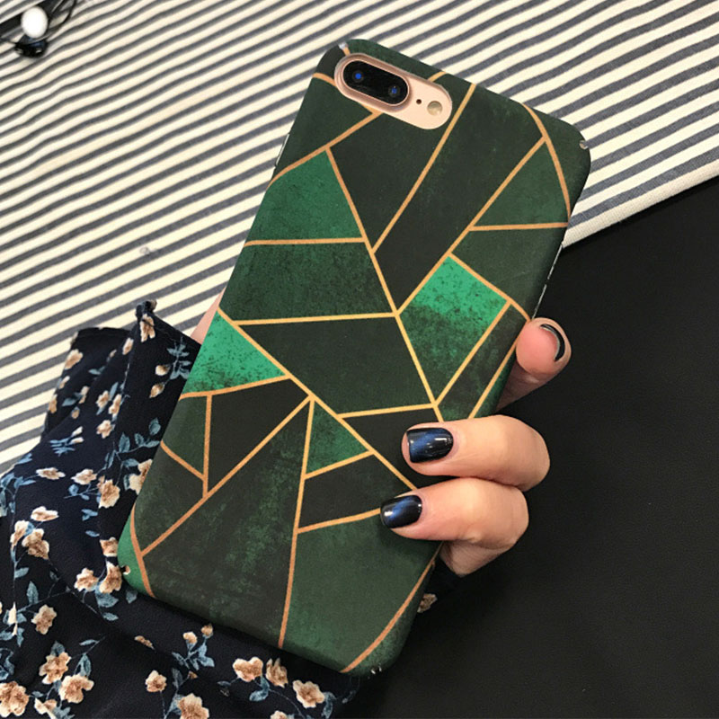 Simple Artistic Geometric Graphic Green Matte Hard Case Cover For iPhone 6 6s 7 8 Plus S ...