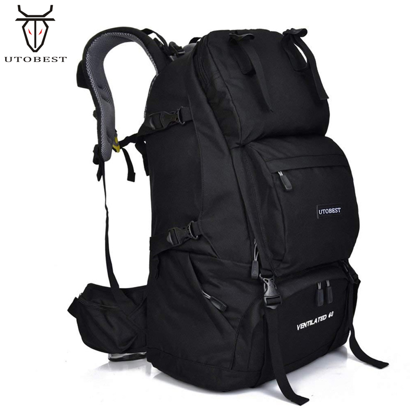 60L Outdoor Sport Military Tactical Climbing Mountaineering Backpack Camping Hiking Trekking Rucksack Travel Bag With Raincover