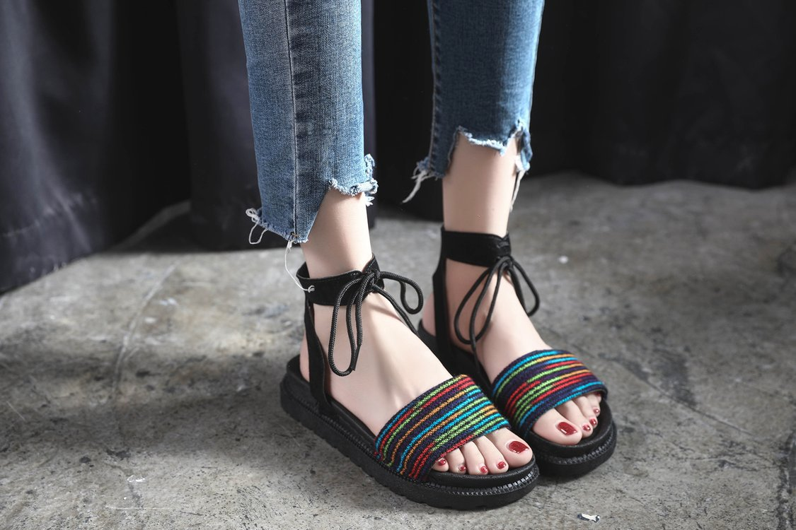 Casual Lace-up Rome Gladiator Women Sandals Solid Ankle Strap Shallow Women Shoes Summer Fashion Flat Sandals 27
