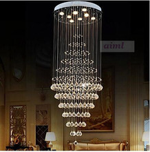 Modern LED K9 Crystal Chandelier Lighting Lamp Fixtures with 8 Bulbs D60CM H180CM CE 110-220V Stairs hall pendant