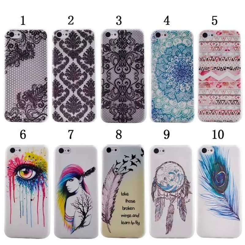 Luxury Ultra Thin Transparent TPU Silicone Colourful Feather Phone Back Cover For Apple iphone 5C Case,XX-P001