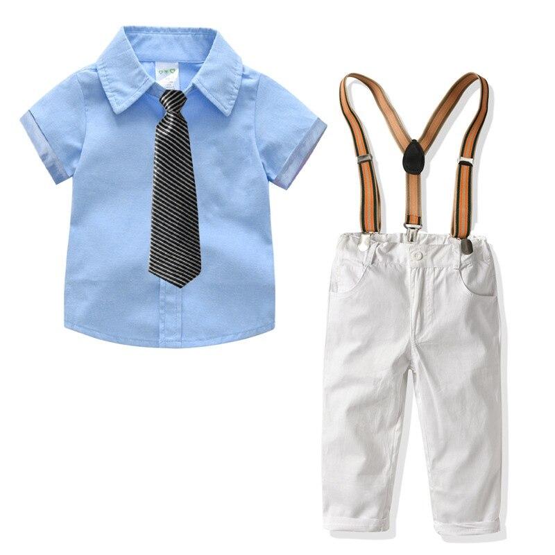 Летние комплекты детской одежды, хлопковая одежда из 4 предметов для мальчиков, голубое, розовое платье с короткими рукавами, рубашка + подтя...