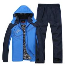 새로운 남자의 겨울 운동복 두꺼운 따뜻한 코트 + 바지 정장 캐주얼 남성 tracksuit outwear 까마귀 자 켓 큰 크기 6xl 설정