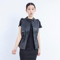 Genuine leather vest women 2019 New Brand Autumn Sleeveless jacket Warm Waistcoat Sheepskin Black Office Lady Women Suede