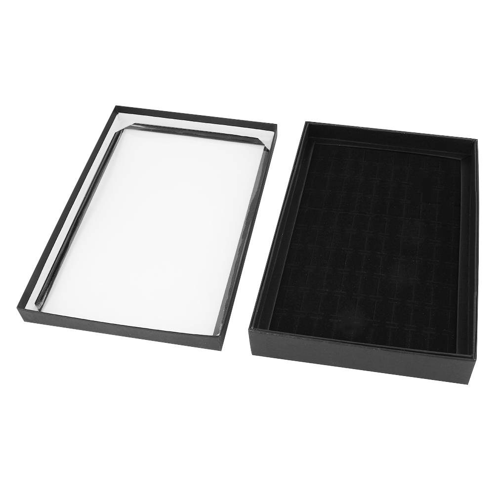 100 Slots Soft Velvet Ring Earrings Display Box Tray Storage Case Holder Showcase Black Jewelry Boxes With Lid