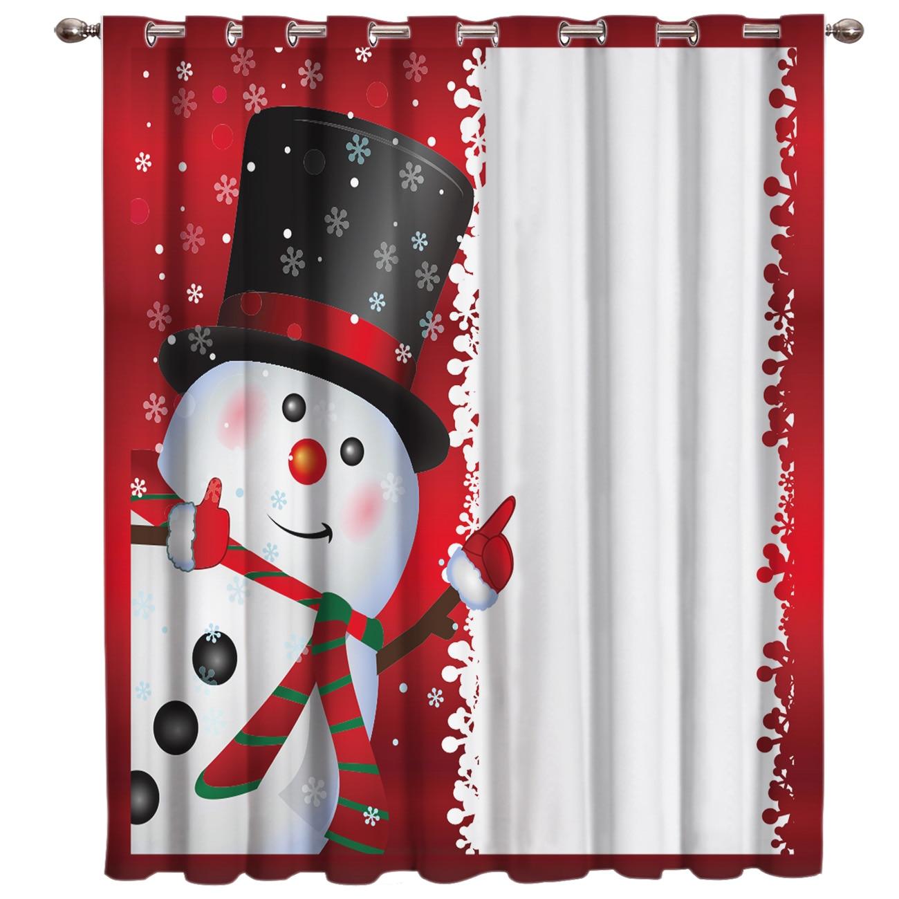 Merry Christmas Snowman Window Treatments Curtains Valance Room Curtains Large Window Window Curtains Dark Curtain Rod Blackout